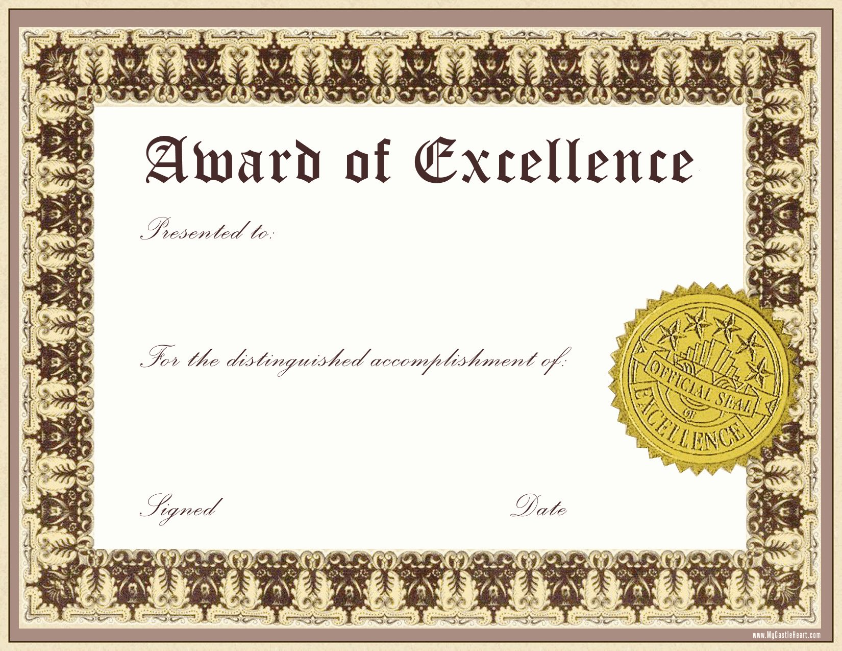 Certificate Of Excellence Template Luxury Free Download Award Certificate Template Samples Thogati