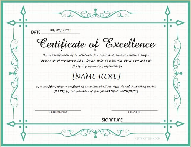 Certificate Of Excellence Template Luxury Pin by Alizbath Adam On Certificates