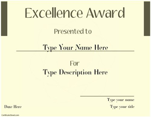 Certificate Of Excellence Template New Business Certificates Excellence Award Template