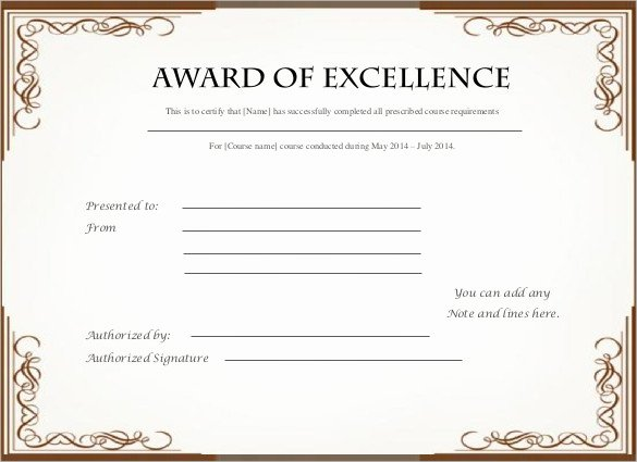 Certificate Of Excellence Template New Printable Certificate Template 46 Adobe Illustrator