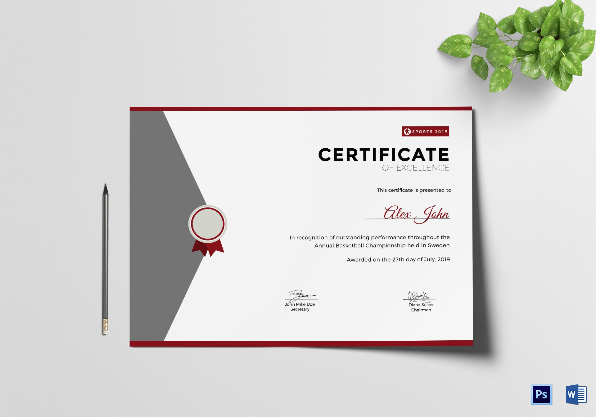 Certificate Of Excellence Template New Prize Excellence Certificate Design Template In Psd Word