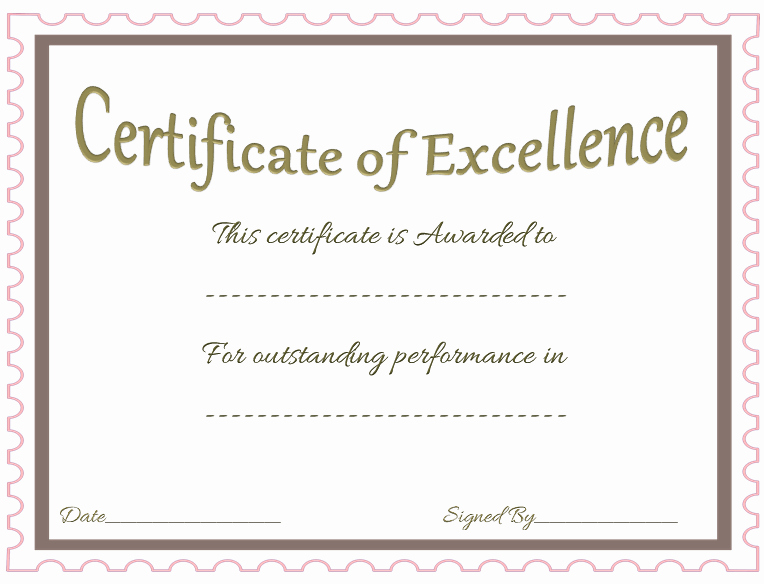 Certificate Of Excellence Template Unique Award Certificate Template Celebrate Achievements