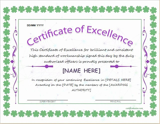Certificate Of Excellence Template Unique Certificate Of Excellence Template for Ms Word Download at