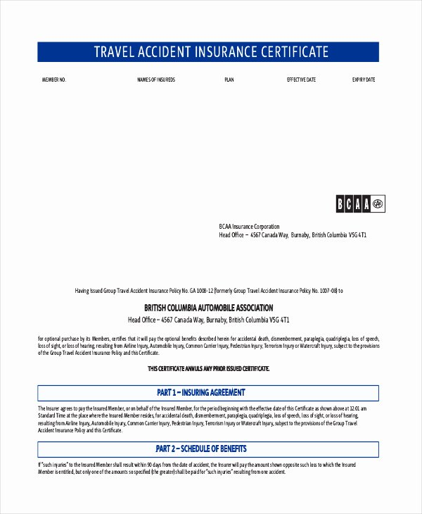 Certificate Of Insurance Template Awesome 21 Of Travelers Home Insurance Template