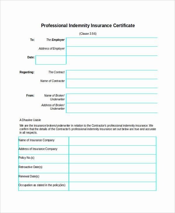 Certificate Of Insurance Template Fresh Certificate Insurance Template