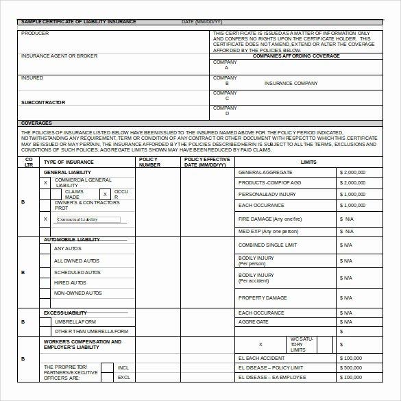 Certificate Of Insurance Template Fresh Certificate Of Insurance Template 15 Download Free