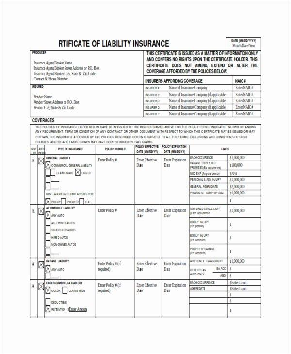 Certificate Of Insurance Template Fresh Insurance Liability Certificate Templates – 10 Free Sample