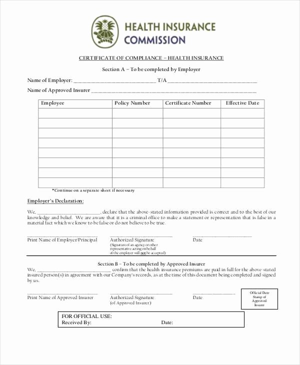 Certificate Of Insurance Template New Free 41 Certificate form In Templates Pdf