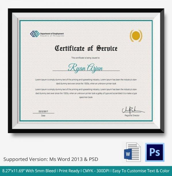 Certificate Of Service Template Beautiful Certificate Of Service Template 11 Free Word Pdf