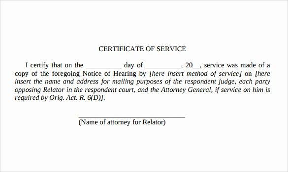 Certificate Of Service Template Beautiful Certificate Of Service Template 14 Download Documents