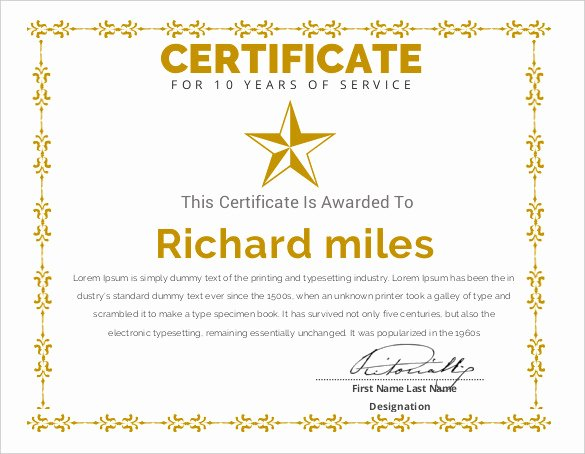 Certificate Of Service Template Fresh Certificate Templates