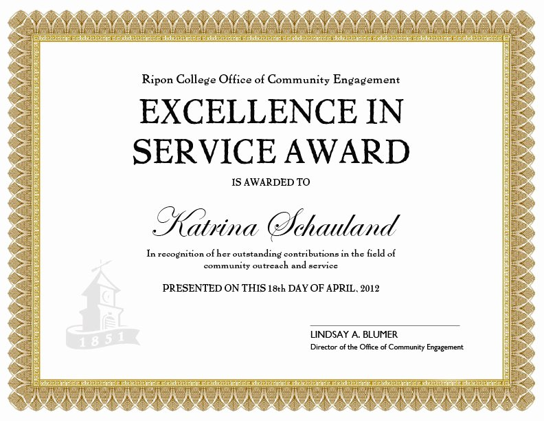 Certificate Of Service Template New Service Awards Template Doc Pdf Cummunity Service Certificate