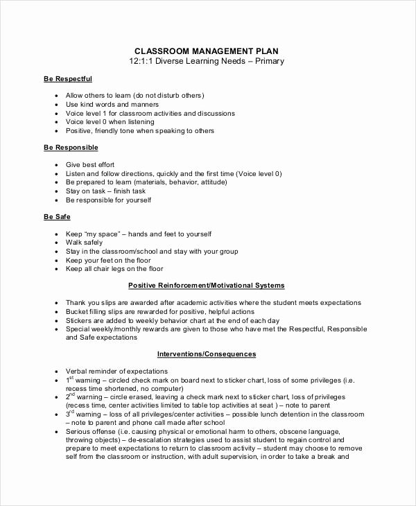 Champs Classroom Management Plan Template New Sample Classroom Management Plan Template 12 Free