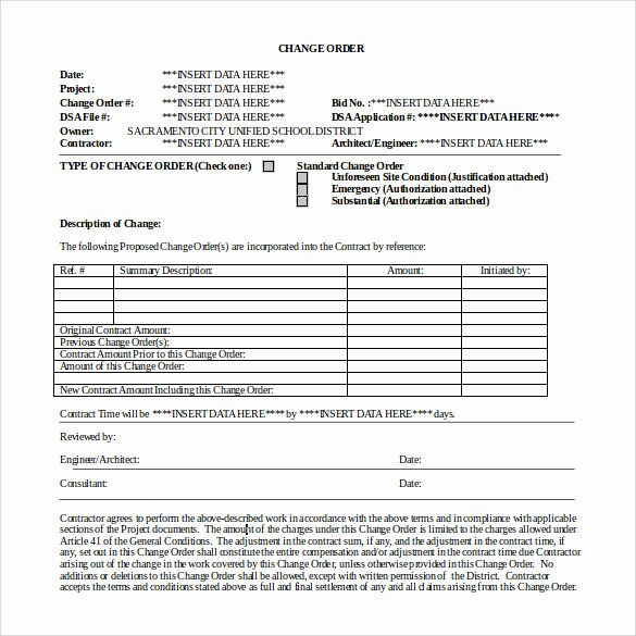 Change order form Template Best Of 13 Change order Templates Ai Word