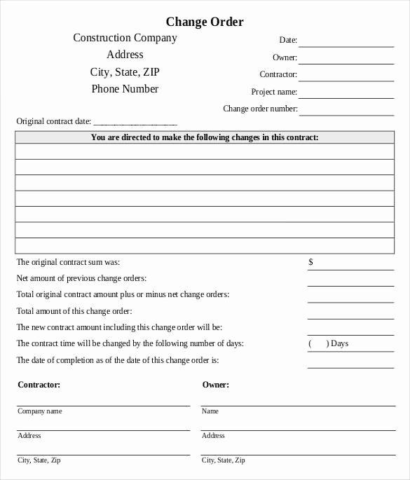 Change order form Template Fresh Change order form
