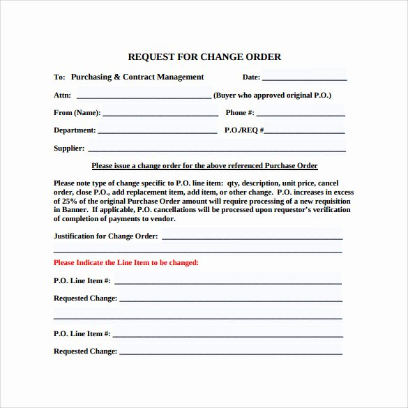 Change order form Template Inspirational 13 Change order Templates Ai Word