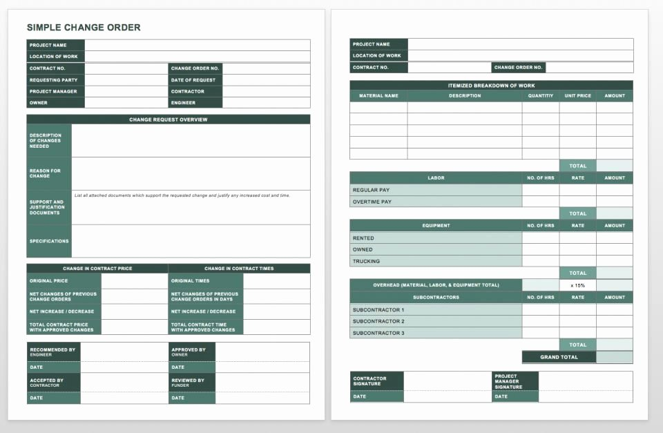 Change order form Template Inspirational Plete Collection Of Free Change order forms