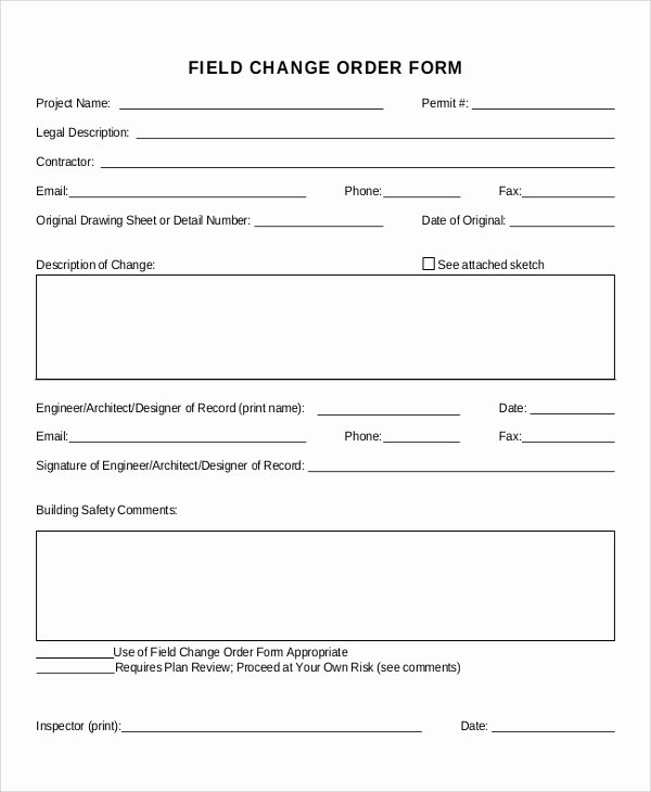 Change order form Template Lovely Sample Change order form 12 Examples In Word Pdf