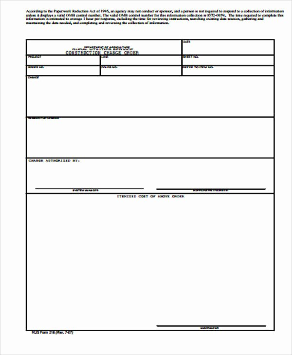 Change order form Template New Sample Construction Change order form 7 Examples In