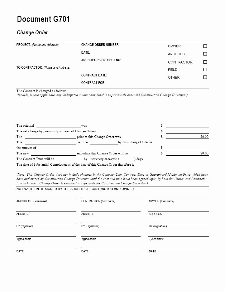Change order forms Template Beautiful G701 Change order Cms