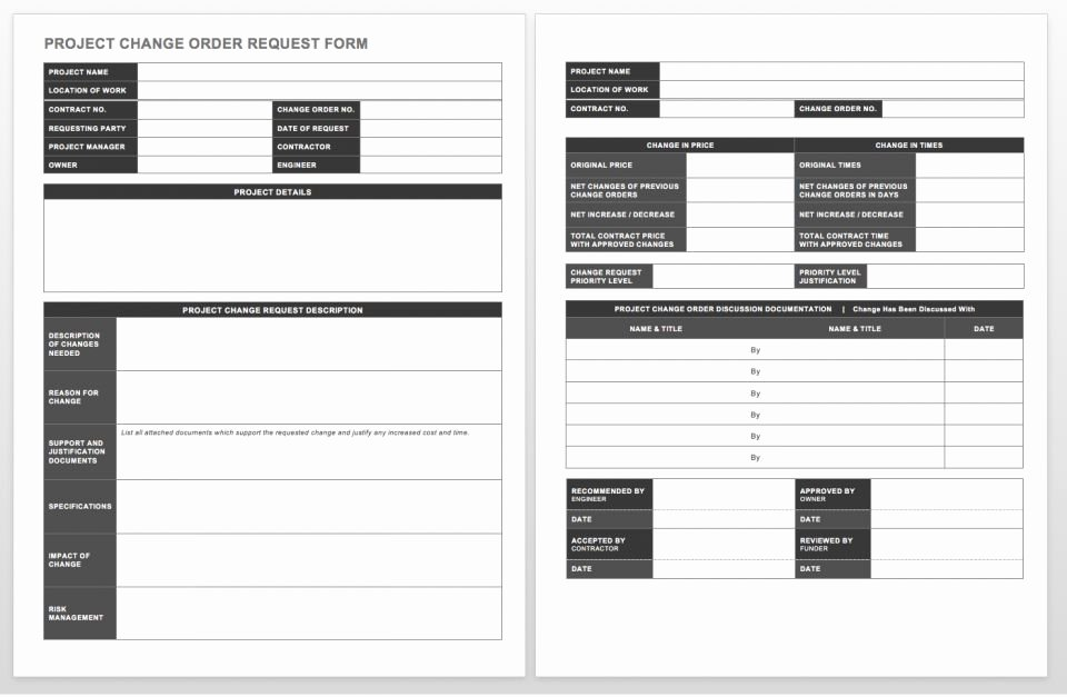 Change order forms Template Beautiful Plete Collection Of Free Change order forms