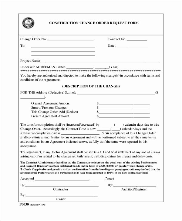 Change order forms Template Inspirational Sample Construction Change order form 7 Examples In