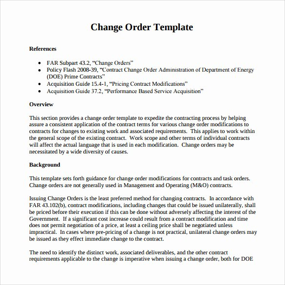 Change order forms Template Lovely Sample Change order – 11 Documents In Pdf Word