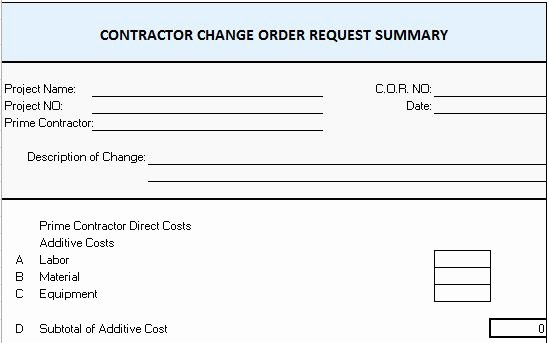 Change order forms Template New Excel Template