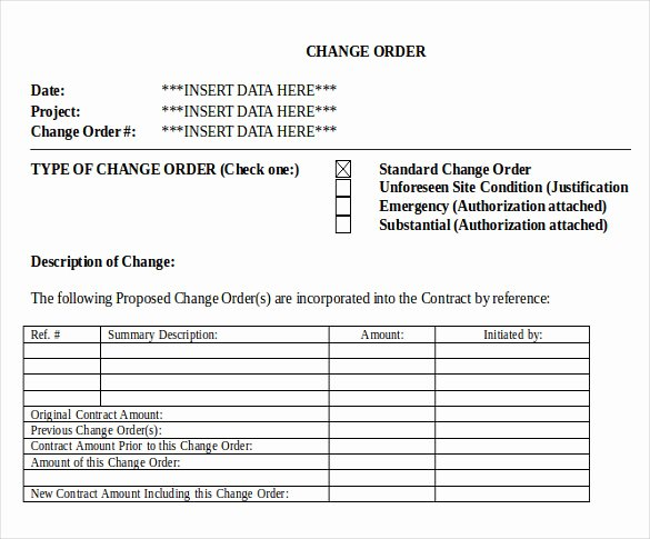Change order forms Template Unique 24 Change order Templates Word Pdf Google Docs