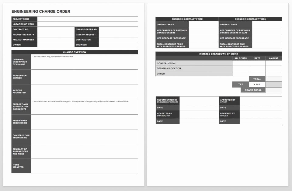 Change order forms Template Unique Plete Collection Of Free Change order forms