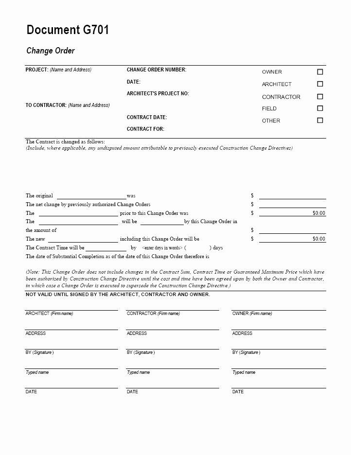 Change order Template Excel Inspirational Aia Change order form