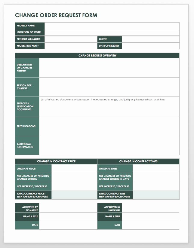 Change Request forms Templates Awesome 15 Free Work order Templates