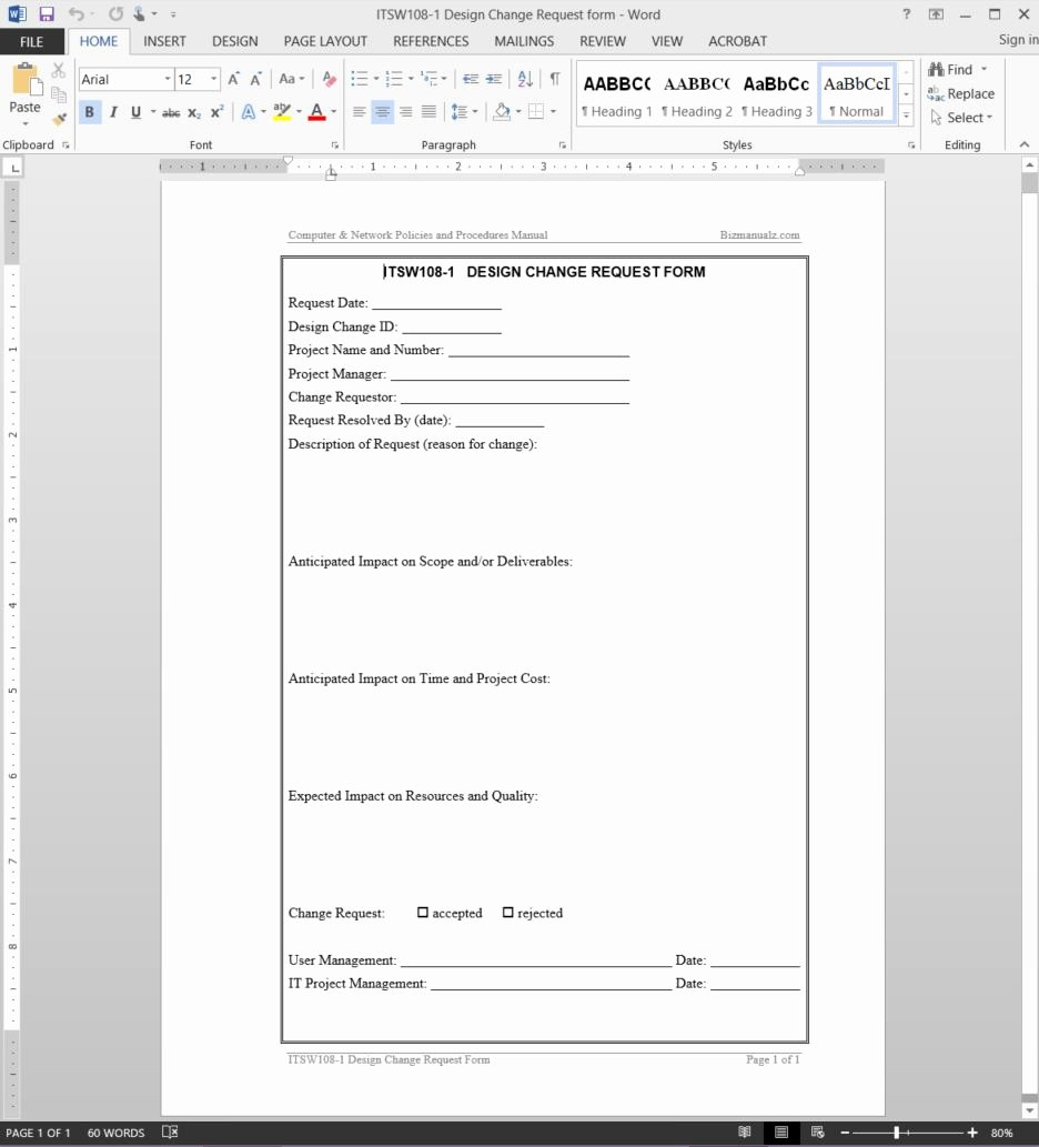 Change Request forms Templates Awesome Design Change Request Template