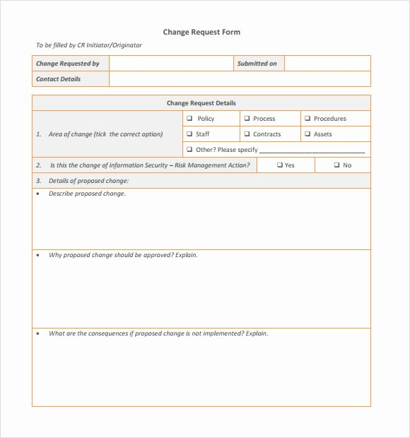 Change Request forms Templates Elegant Sample Change Request 7 Documents In Pdf Word