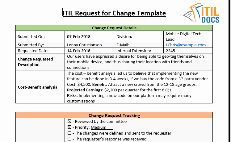 Change Request forms Templates Luxury Request for Change Template – Itil Docs