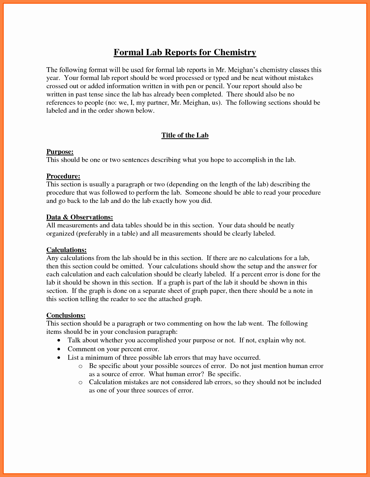 Chemistry Lab Report Template Best Of 9 Chemistry Lab Report Example