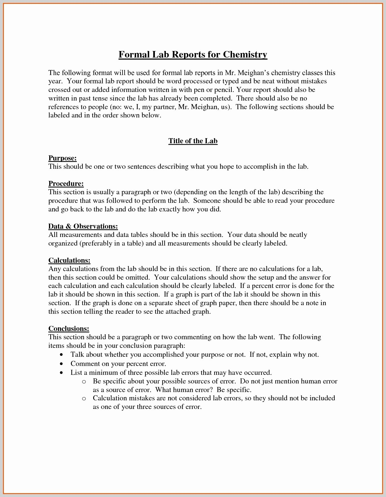 Chemistry Lab Report Template Best Of Chemistry Lab Report Template