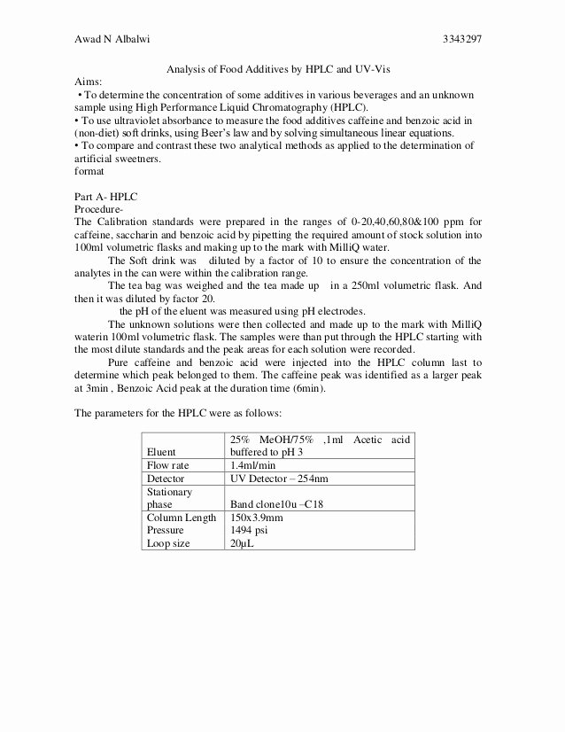 Chemistry Lab Report Template New Lab Report format High School How to Write A Lab Report