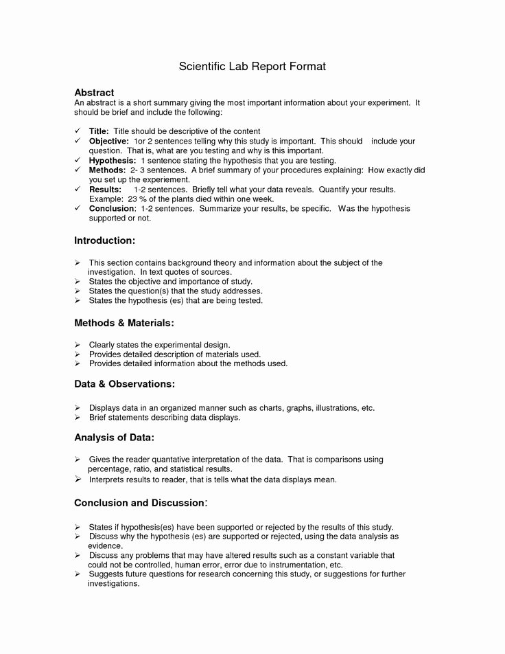 Chemistry Lab Report Template Unique Lab Report format Doc
