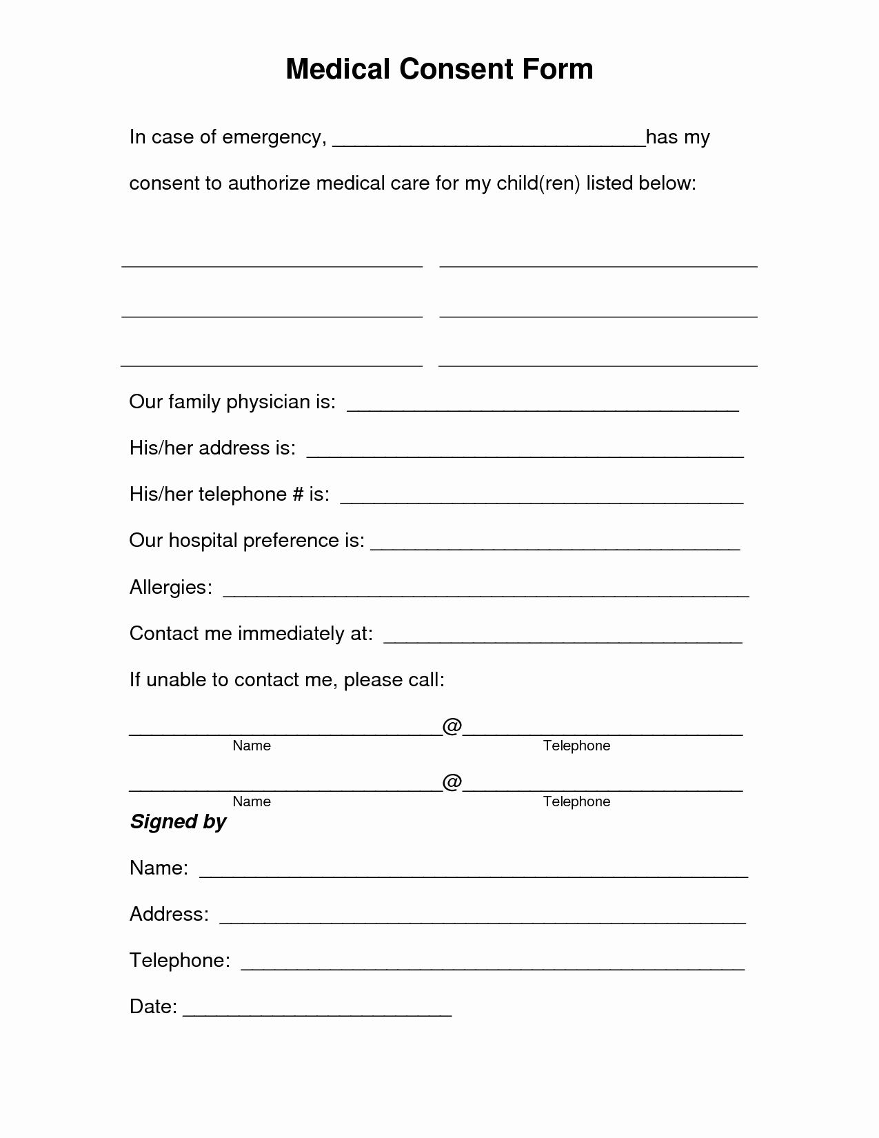 Child Medical Consent form Template Beautiful Free Printable Medical Consent form