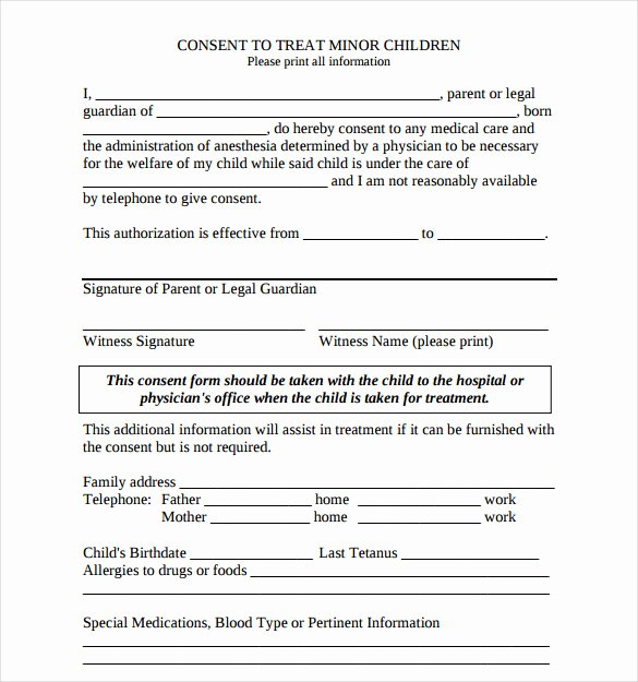 Child Medical Consent form Template Beautiful Sample Child Medical Consent form 5 Download Free