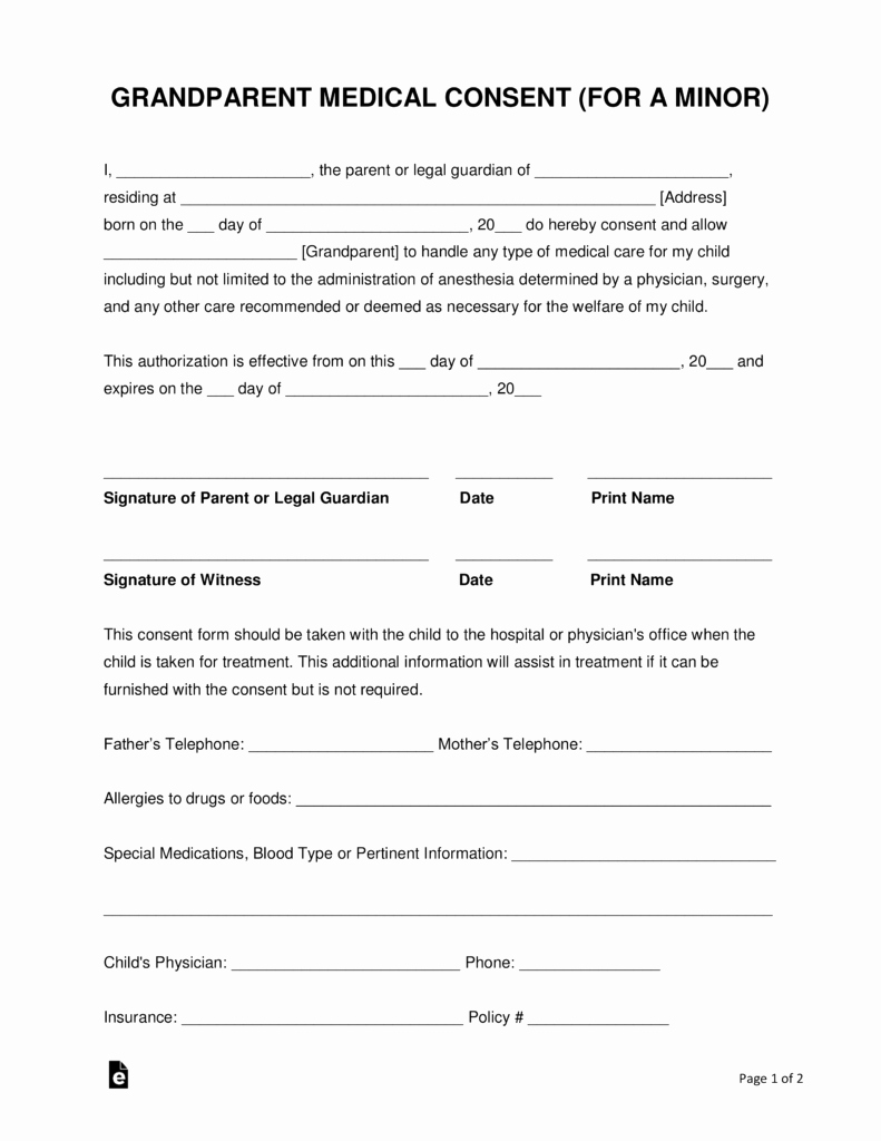 Child Medical Consent form Template Fresh Grandparents' Medical Consent form – Minor Child