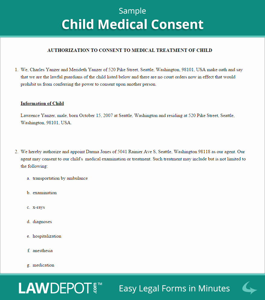 Child Medical Consent form Template Inspirational Free Child Medical Consent Create Download and Print