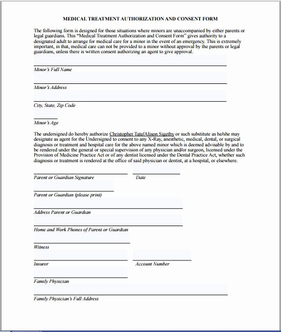 Child Medical Consent form Template Luxury Sample Medical Consent form