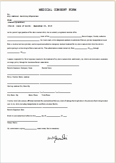 Child Medical Consent form Template Unique Medical Consent form Template Ms Word