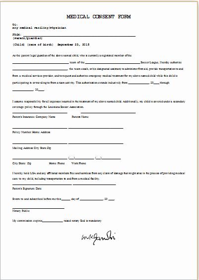 Child Medical Consent form Template Unique Medical Consent form Template Ms Word