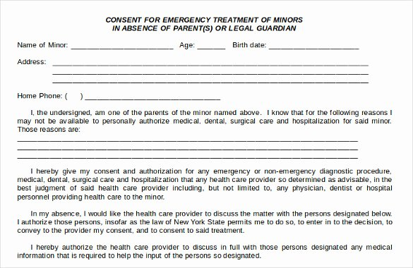 Child Medical Consent form Template Unique Sample Child Medical Consent form 5 Download Free