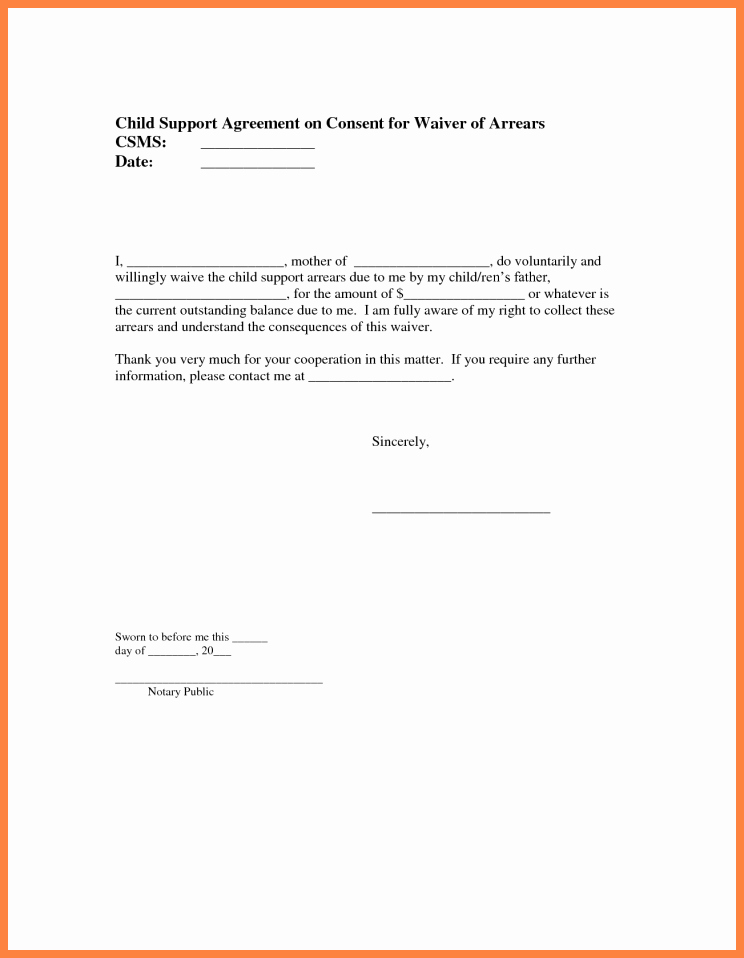 Child Support Agreement Template Awesome 6 Child Support Letter Of Agreement Template