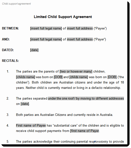 Child Support Agreement Template Beautiful Child Support Agreement Template to Document Arrangements