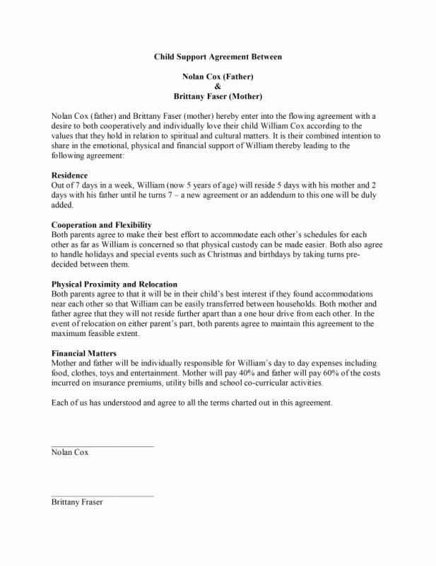 Child Support Agreement Template Fresh Child Support Agreement Template Template